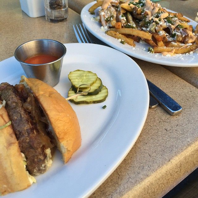 """Alright, my first post is not a healthy one  but I promise to mix it up. This was a meal I had at one of my favorite #downtownGilbert restaurants: Zinburger from FRC. This was the """"My Boy Blue"""" burger and """"Spicy Green Chili Fries"""". Burger was fab, but the fries are a taste of heaven. #Zinburger#food#burgers#foodie#eats#restaurants#bragyourplate @eatzinburger For more fun food posts, follow me @foods_and_fun"""