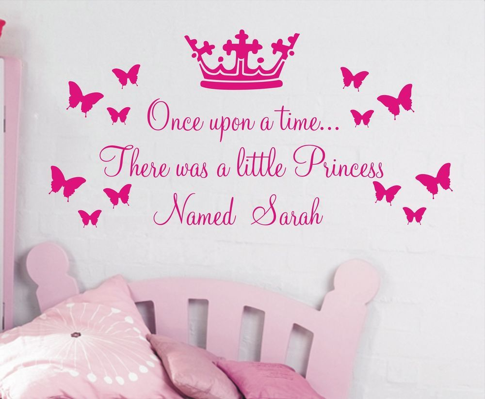 Personalised wall sticker once upon a time princess quote for personalised once upon a time princess wall art sticker is available in a wide range of colours to suit your interior making it ideal to apply to any amipublicfo Image collections
