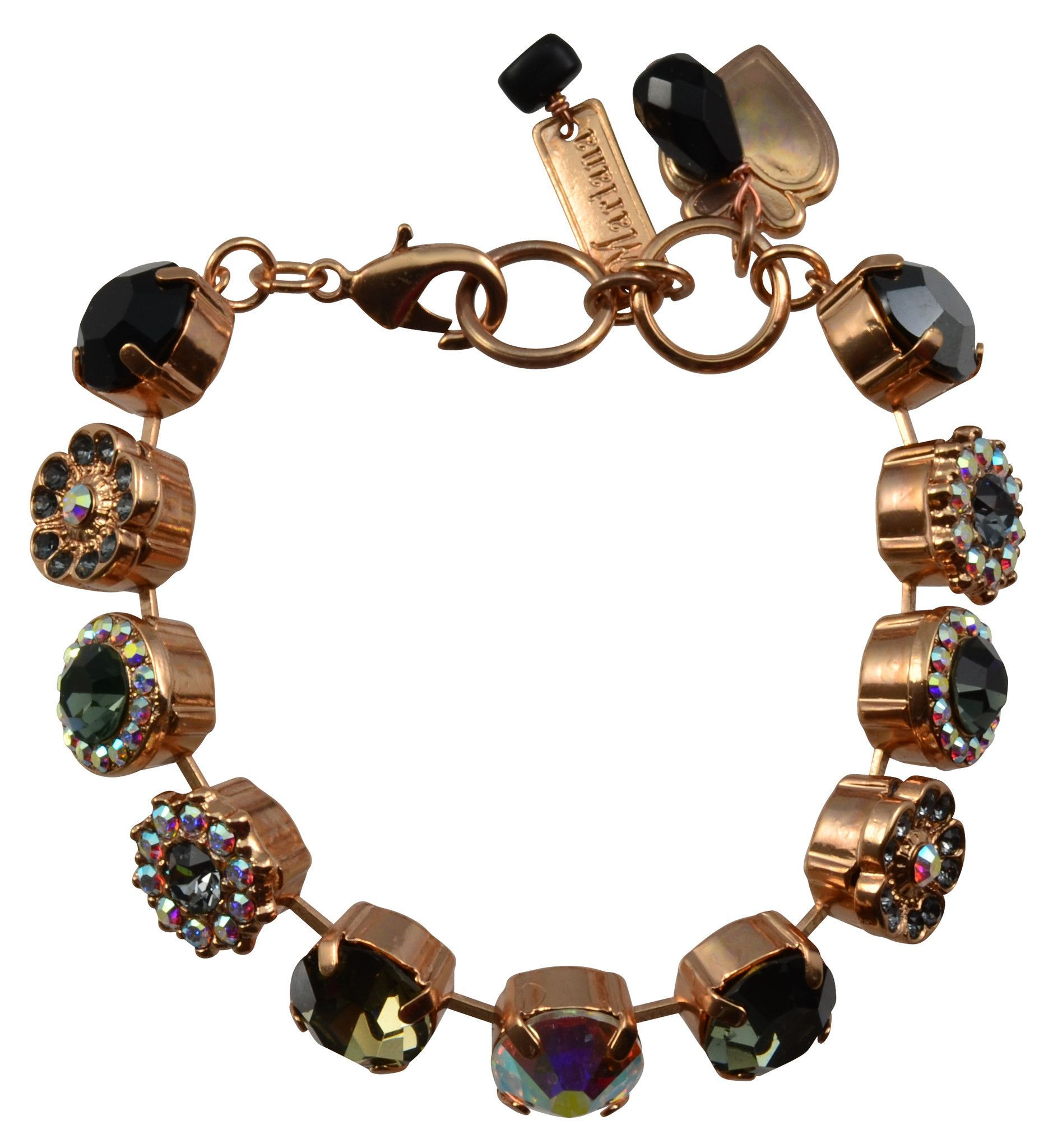 Mariana tuxedo rose gold plated swarovski crystal tennis bracelet