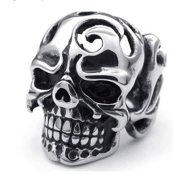 Stainless Steel 2 Color Crossbones Ghost Skull Biker Ring