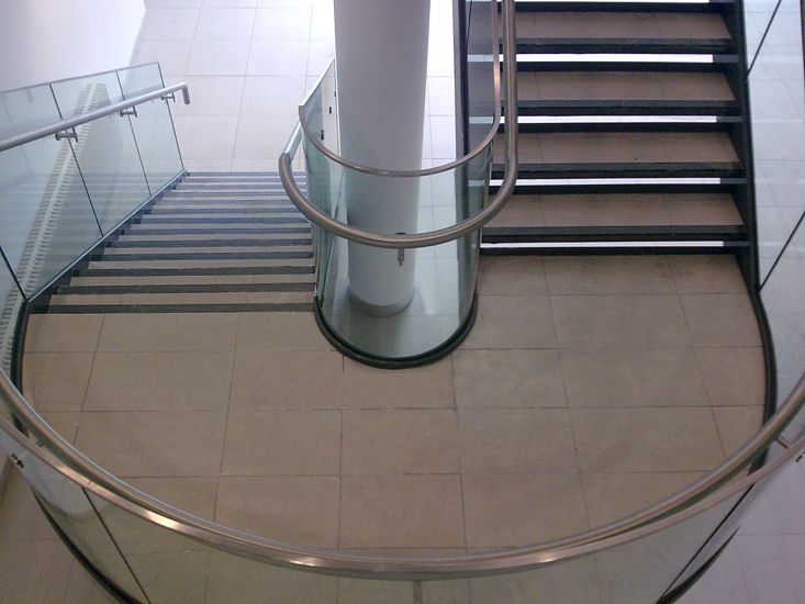 Best Feature Stair With Curved Glass Balustrade And Stainless 400 x 300