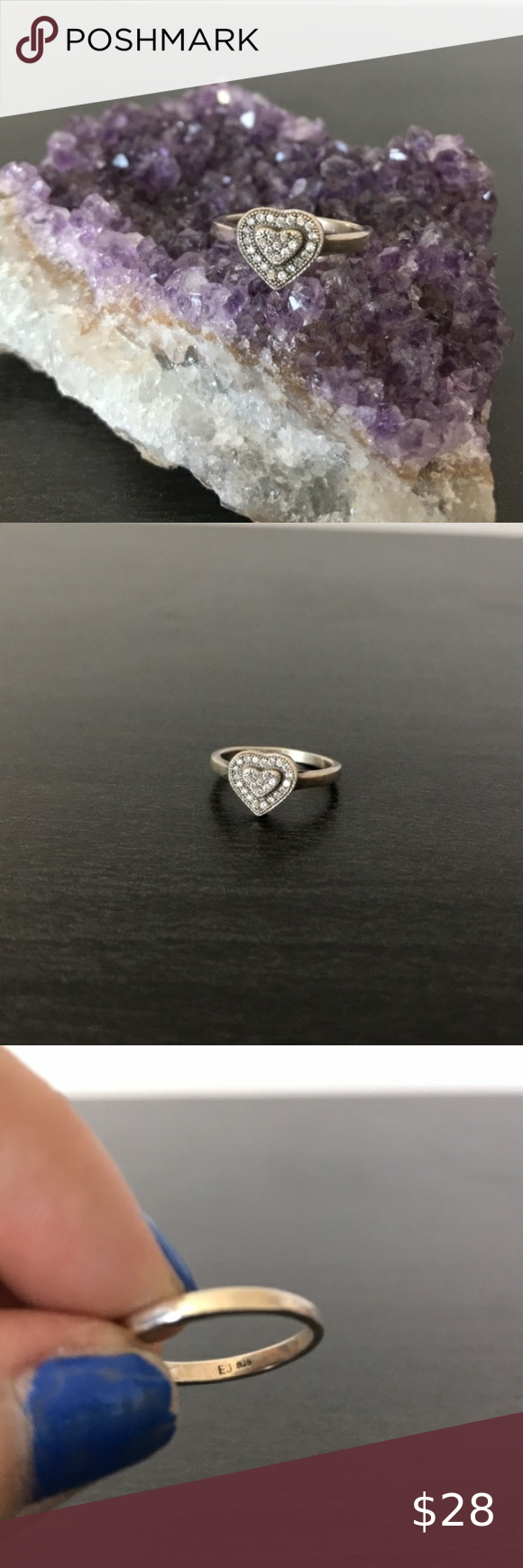 Will Sterling Silver Turn My Finger Green : sterling, silver, finger, green, Sterling, Silver, Heart, Shaped, Ring., Little, Sparkly, Stones., Wil…, Womens, Jewelry, Rings,, Rings