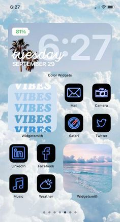 Blue iOS 14 App Icon Pack | Neon Aesthetic iOS 14