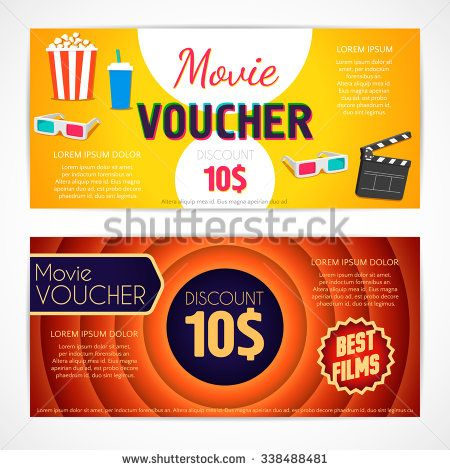 Discount voucher movie template, cinema gift certificate, coupon