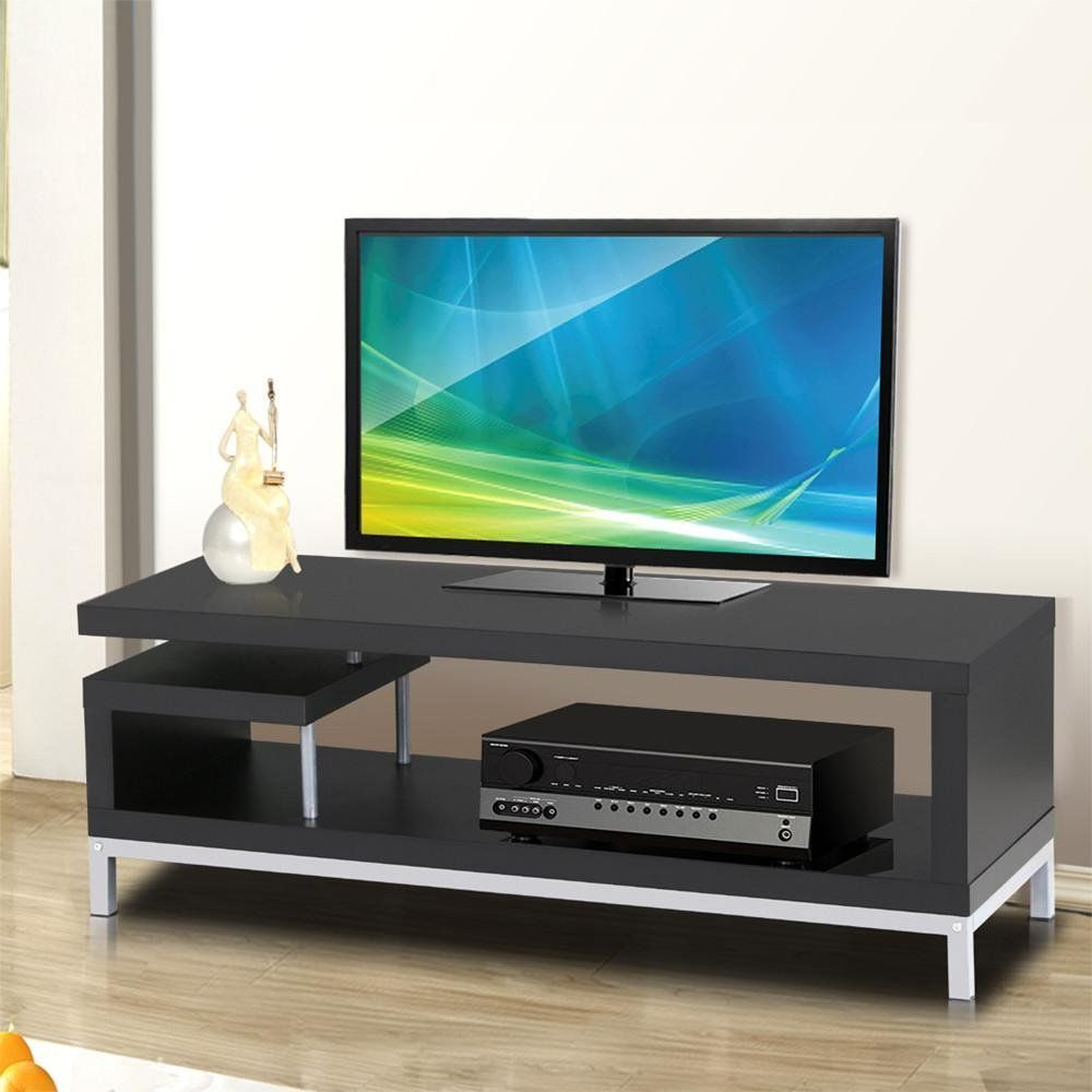 topeakmart  inch black modern tv stand console table home  - topeakmart  inch black modern tv stand console table home entertainmentcenter cabinet for flat screen