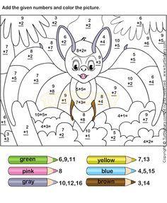 Color Addition Worksheet2 | Omalovánky - počítání | Pinterest