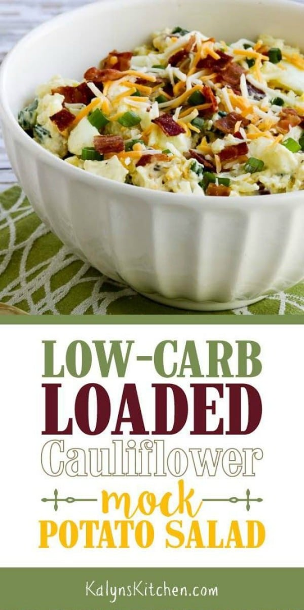 Low-Carb Loaded Cauliflower Mock Potato Salad (Video) - Kalyn's Kitchen #loadedcauliflowerbake
