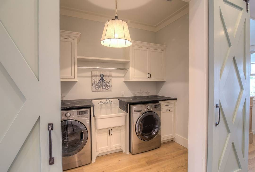 Second Floor Laundry Room With Sliding Barn Door Painted In Sherwin Williams Comfort Gray Tell Me Isn T This Perfect Floors Are Oak