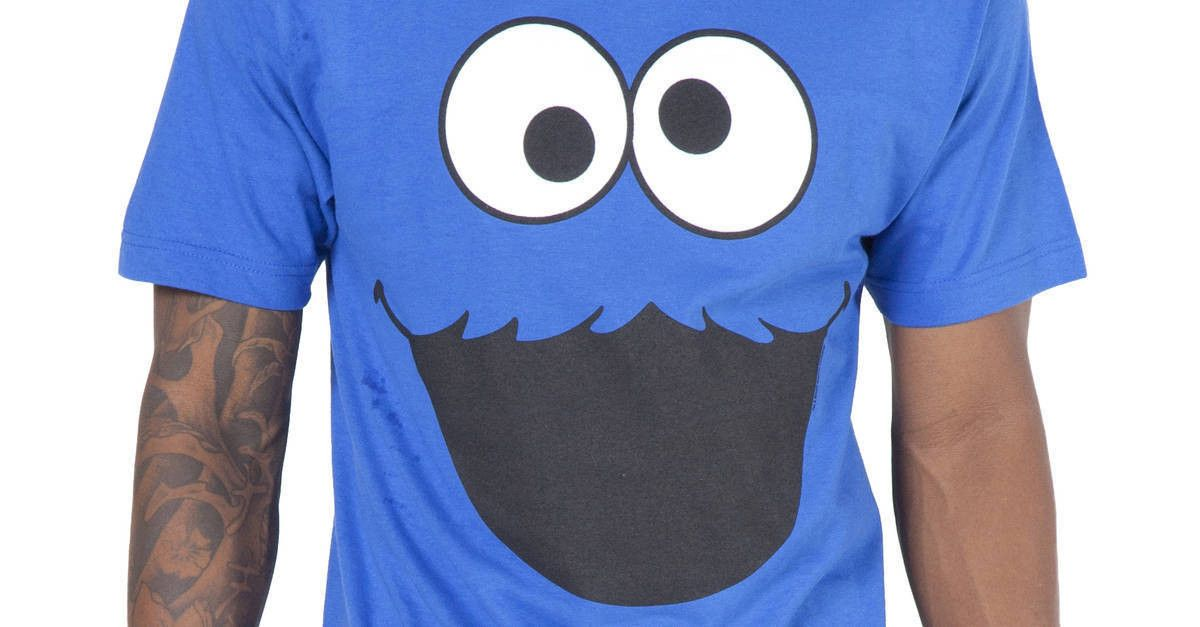 4390c8d6 Cookie Monster FaceT-Shirt by Mighty Fine in collections: 80s TV: Sesame  Street: Character Face: Cookie Monster Shirts,