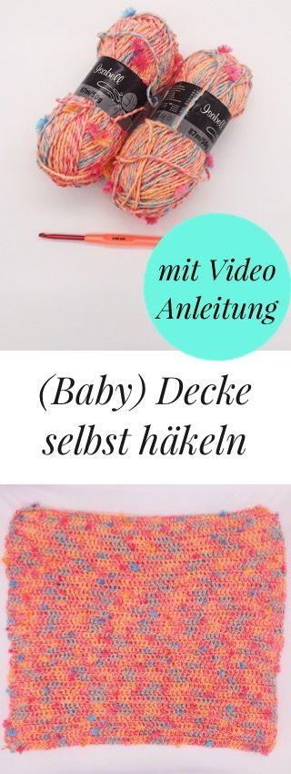 DIY Häkelanleitung - (Baby)decke für Anfänger | Stäbchen, Deckchen ...