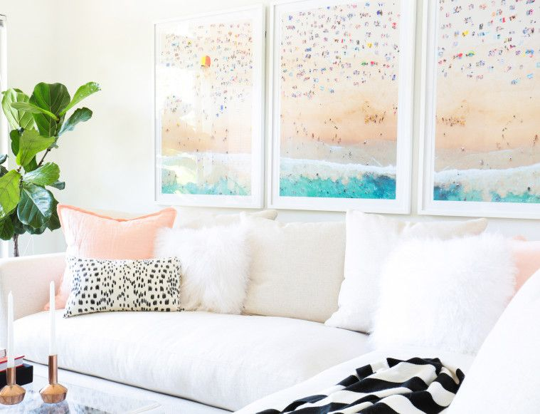 Gray Malin Coogee Beach Triptych in Mariana Hewitt's Home // love the beach photos with the peachy-pink pillows