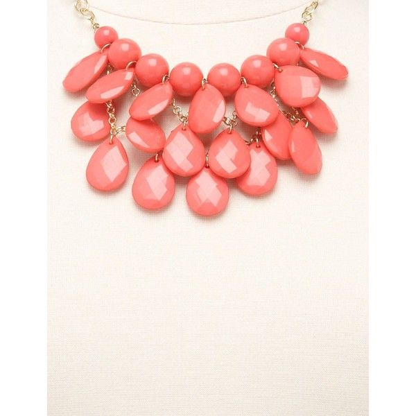 Faceted Teardrop Cluster Necklace ($8.50) ❤ liked on Polyvore