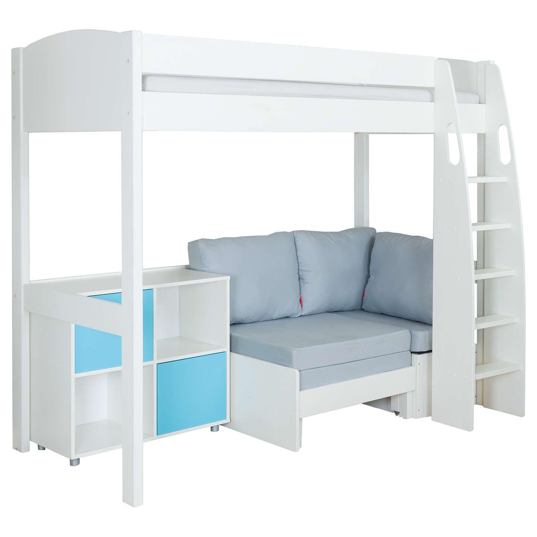 Stompa Uno S Plus High Sleeper With White Headboard Grey Chair