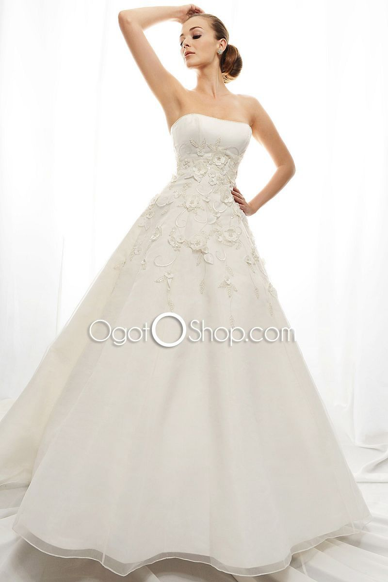 Beautiful silk aline ball gown strapless offtheshoulder applique