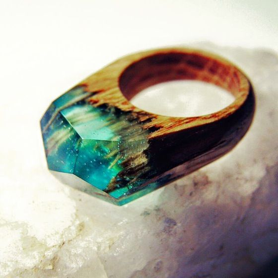 Handmade Wood Ring Jewelry Resin Oak I NEED THESE OR I WILL - Inside each of these wooden rings is a beautiful hidden world