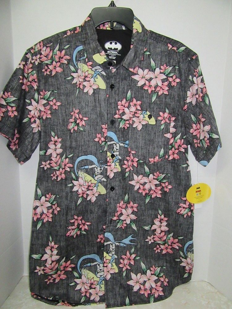 6f14177d8 BATMAN DC Comics Hawaiian Button Down S/S Shirt L Large Spring Break New  NWT #Batman #Hawaiian