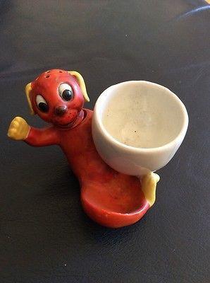 Rare German Bisque Novelty Egg Cup & Salt. • £49.99