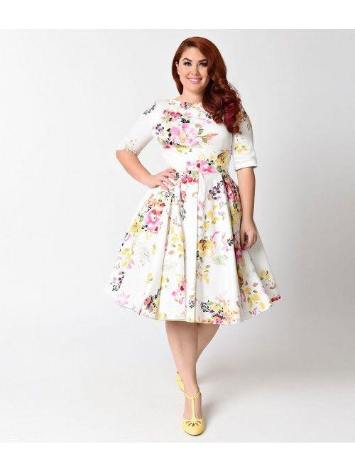 Plus Size Vintage Style Ivory Seville Floral Half Sleeve Hepburn