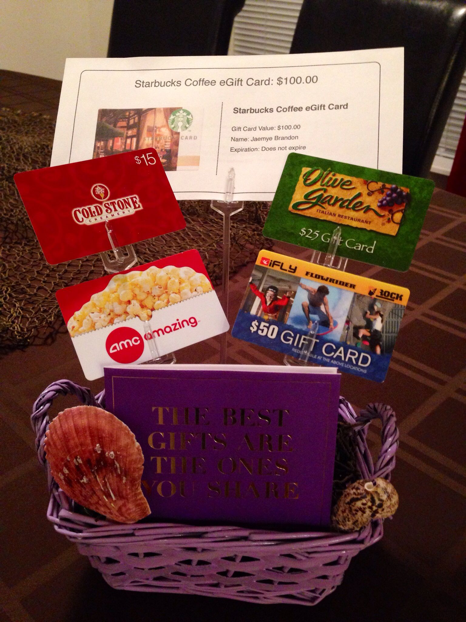Sweet 16 Gift Basket Filled With Cards To Restaurants HM And Movies Treat Herself When She Gets Her Drivers License