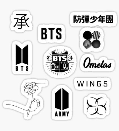 Bts logo sticker pack updated pegatina