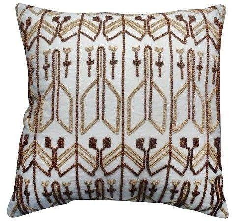 Nate Berkus Decorative Beaded Pillow White Brown Home Bedding Mesmerizing Nate Berkus Decorative Pillows