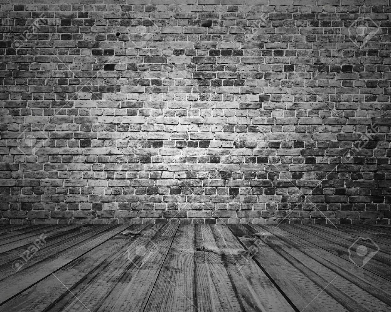 Old Room With Brick Wall Grey Vintage Background Stock Photo