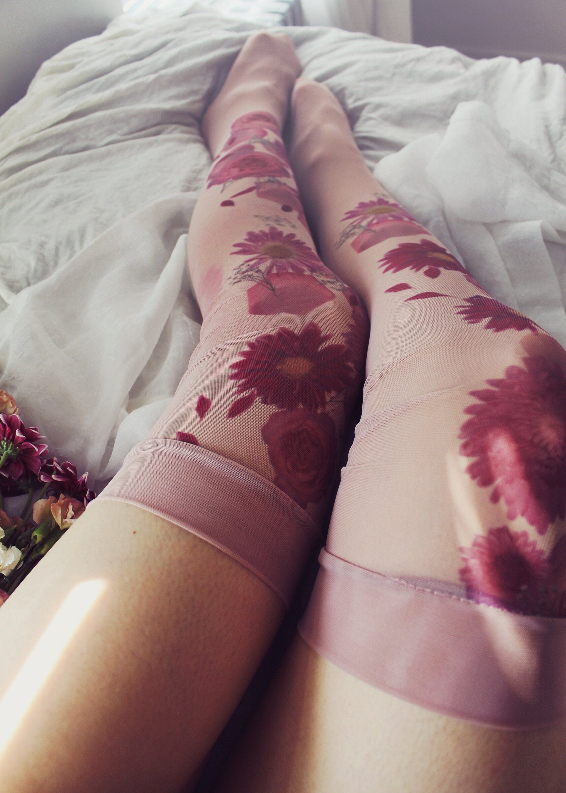 b6e6c4596 Flora Mirage thigh-highs use our photorealistic dye technique to print  images of real flowers to your stockings! Complete the look with our  matching garter.