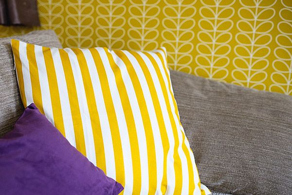 Mustard and Purple Living Room. H and M striped mustard cushion ...