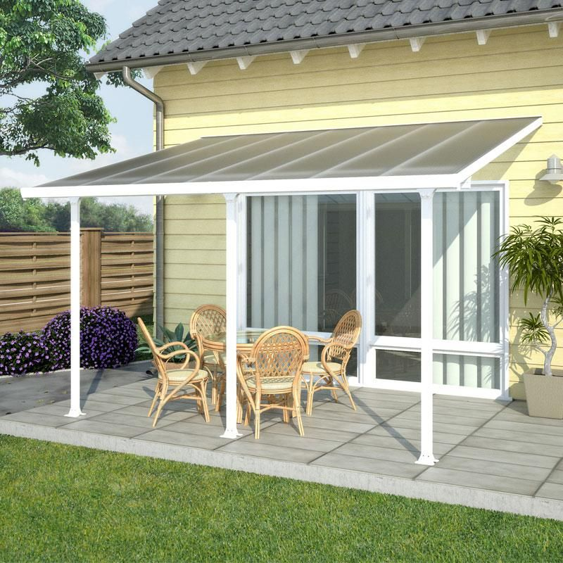 Toit de terrasse en alu blanc et polycarbonate 8mm 300x1000cm PATIO