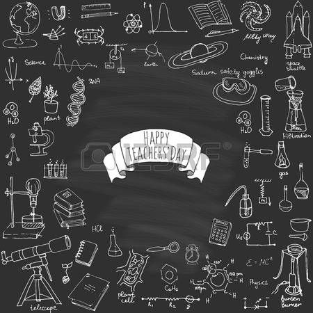 Experiment In Physics Happy Teachers Day Freehand Drawing School Items Science Theme Hand Drawing Set Of Schoo Teachers Day Drawing Physics Happy Teachers Day