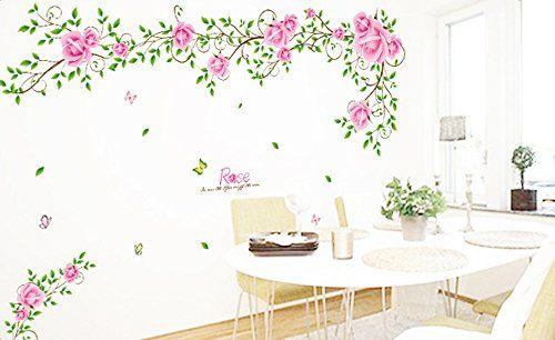 1 X Ufingodecor Romantic Rose Flower Vine Wall Decals Living Room