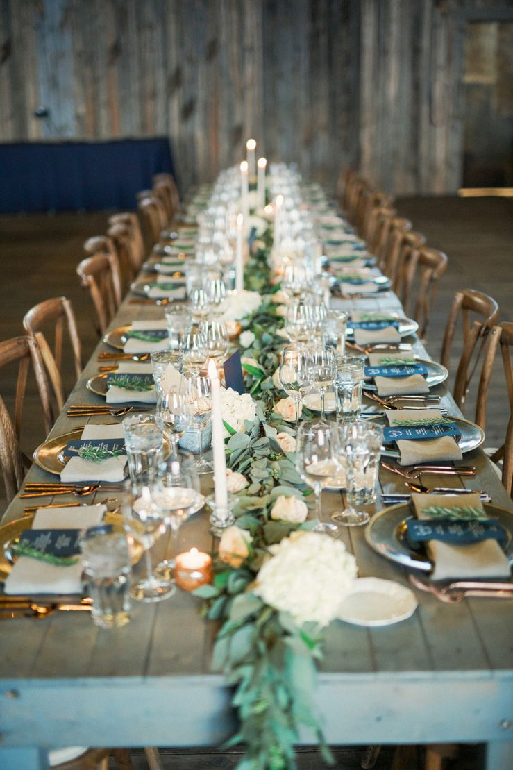 Blue and gold rustic wedding table decorations | fabmood.com & A strapless wedding gown for a winter wedding at Blue Sky Ranch + ...