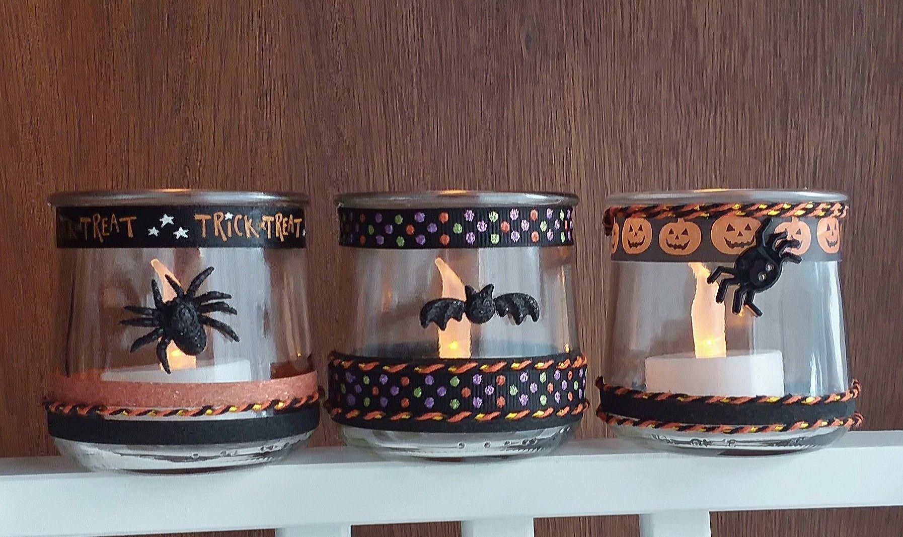 Bwahaha Halloween Votives Using Oui Yogurt Jars Crafts With Glass Jars Diy Jar Crafts Upcycle Jars