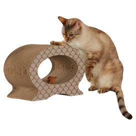 "Give your feline friend a place to play with this chic cat scratcher, showcasing an oval silhouette and scales motif.   Product: Cat scratcherConstruction Material: CardboardColor: TaupeDimensions: 10"" H x 14"" W x 8"" D"
