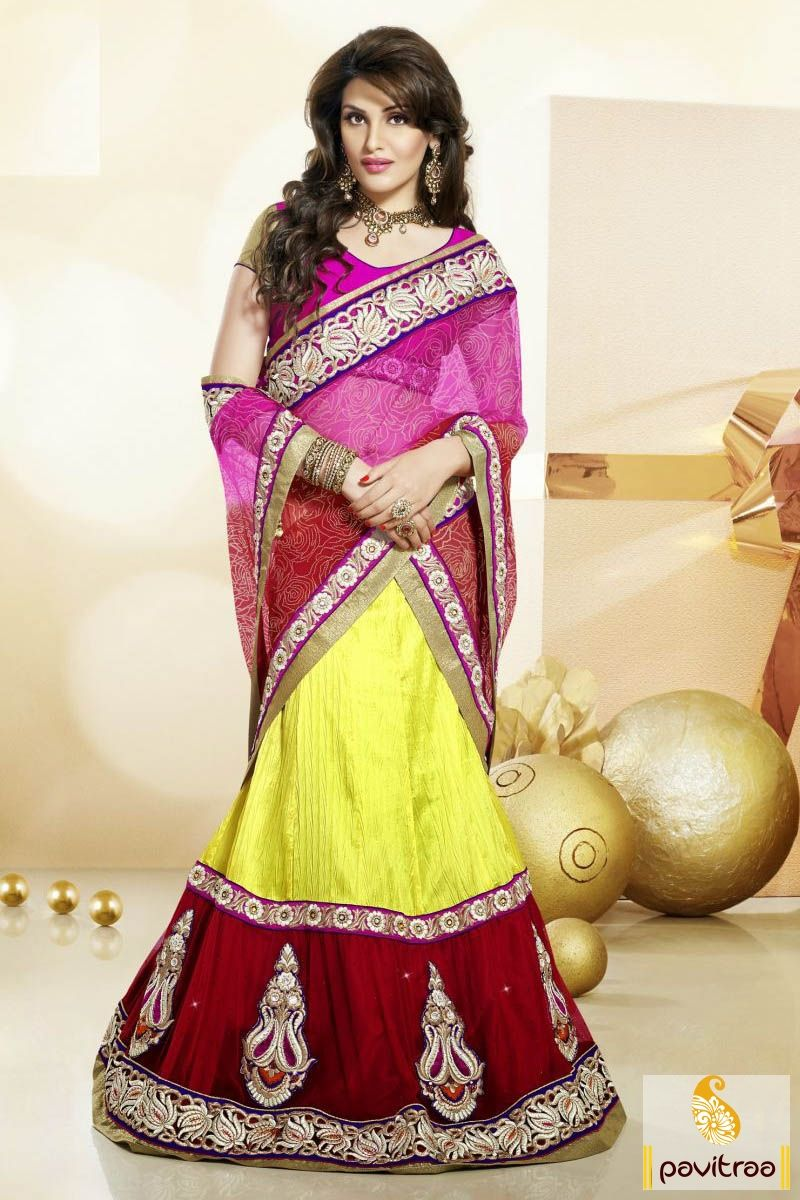 Pavitraa #Red, #Pink and #Yellow #Lehenga Style Sarees