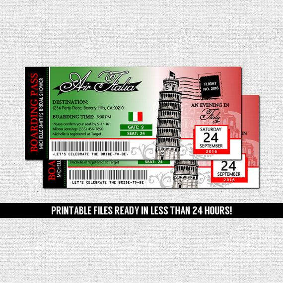 ITALY BOARDING PASS INVITATIONS (printable files) Italian Airline - create a ticket template