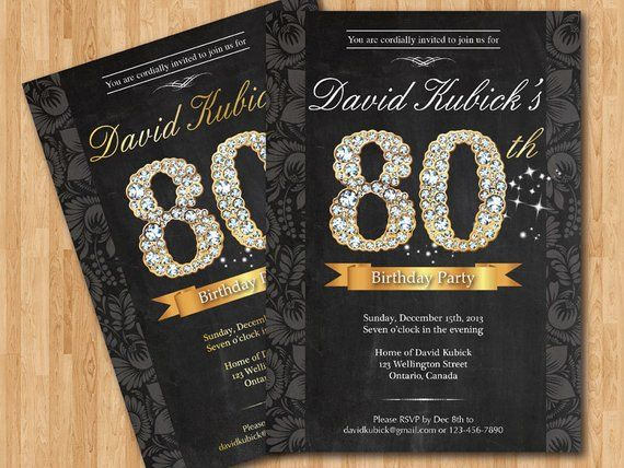 80th Birthday Invitation Black And Gold Diamond Number Bash Invite Chalkboard Background