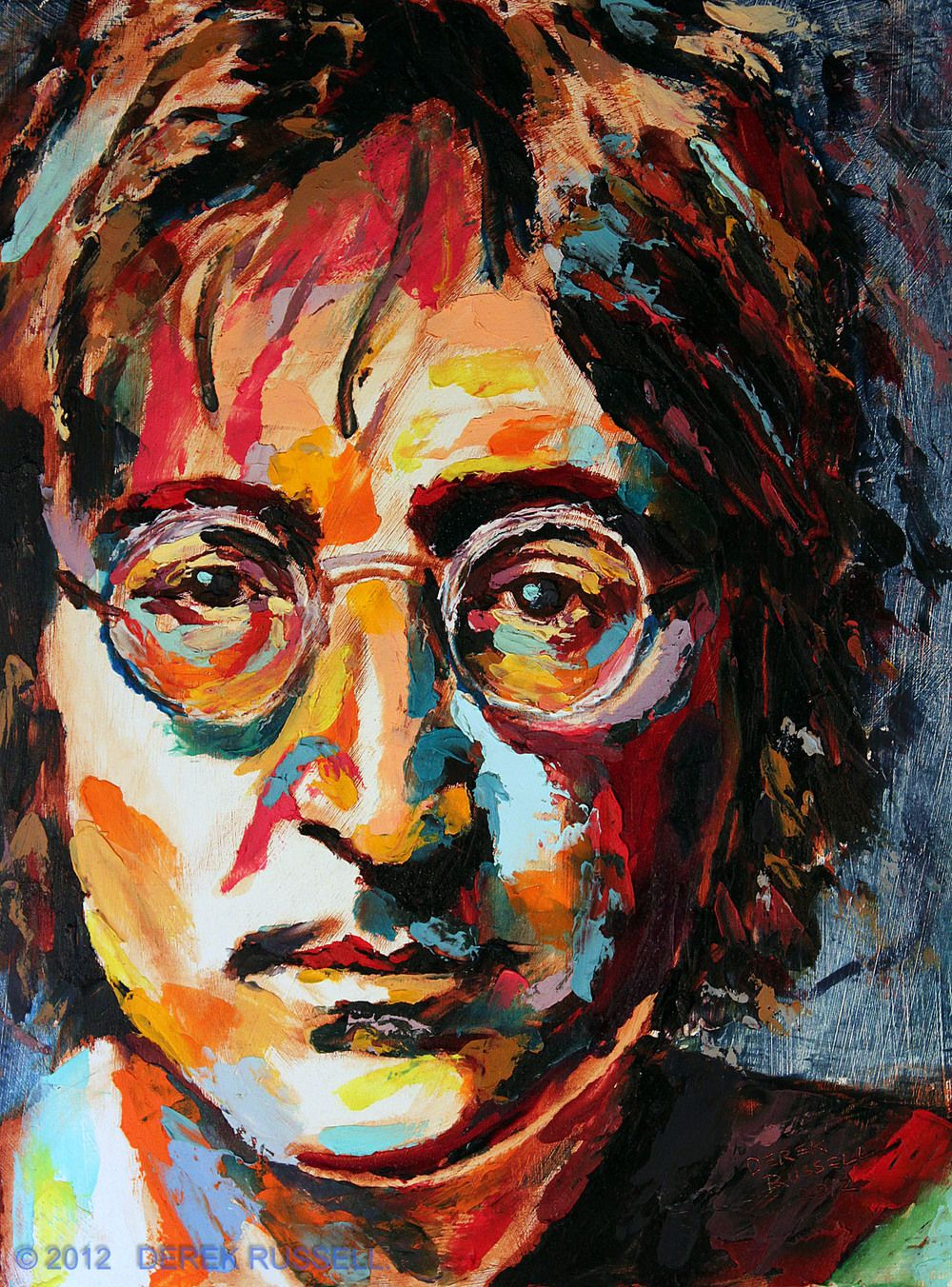 John Lennon Original Oil Painting Abstract portrait