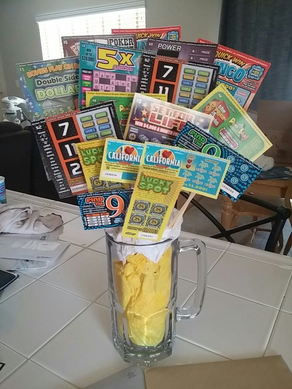 Lottery Ticket Bouquet Man Beer Mug Gift Husband Birthday