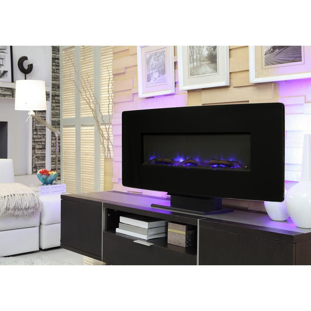 Muskoka 36 In Glass Curved Front Wall Mount Electric Fireplace In Black Sf310c 36 The Home Depot Wall Mount Electric Fireplace Electric Fireplace Wall Mounted Fireplace
