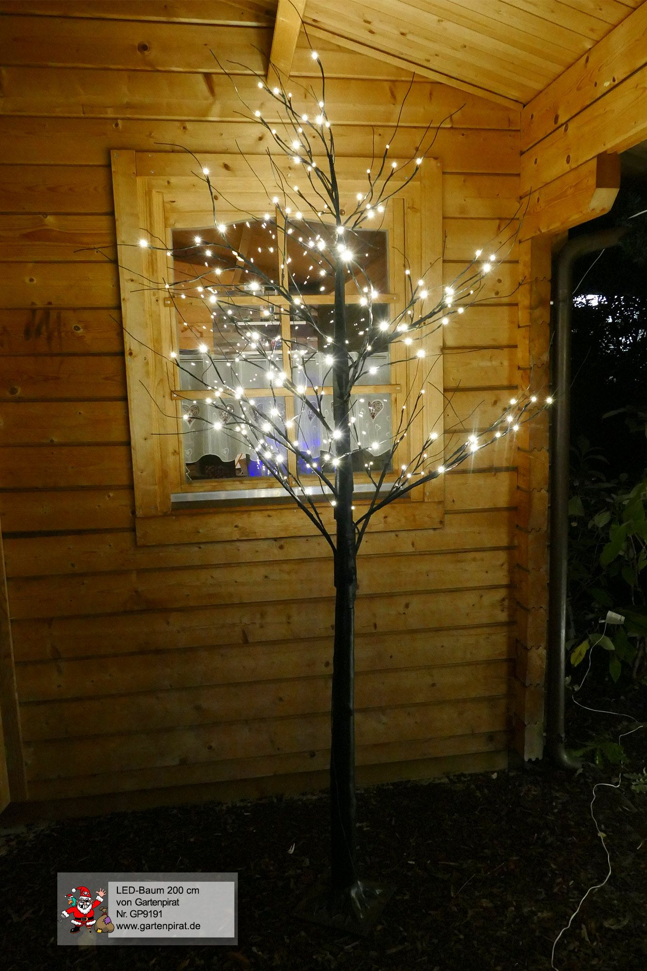 Weihnachtsbeleuchtung Außen Für Große Bäume.Lichterbaum Schwarz Mit Starkem Stamm Led Baum 200 Cm Hoch Mit 168