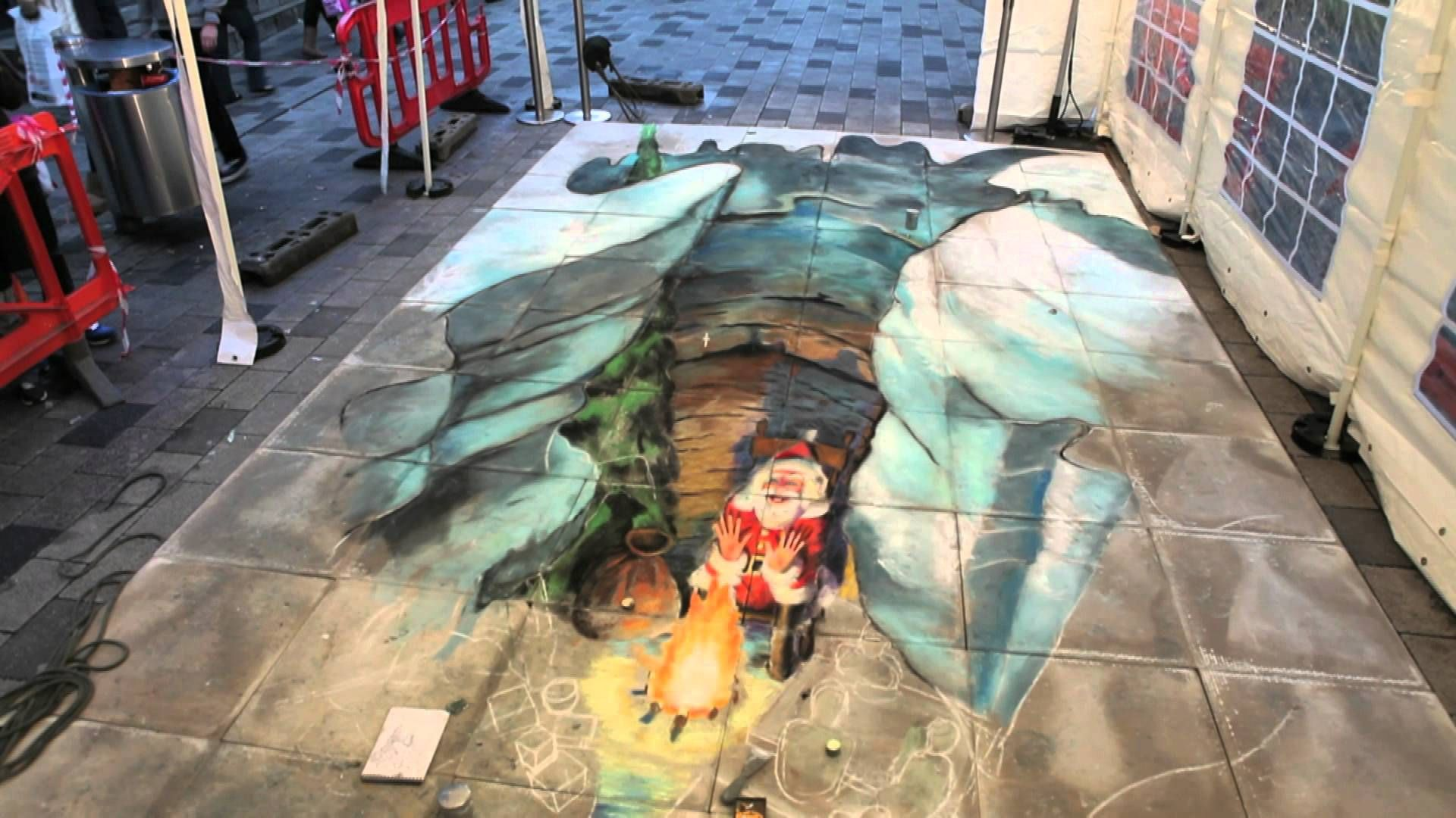 3D Christmas Pavement Art by Julian Beever at The Atrium ...