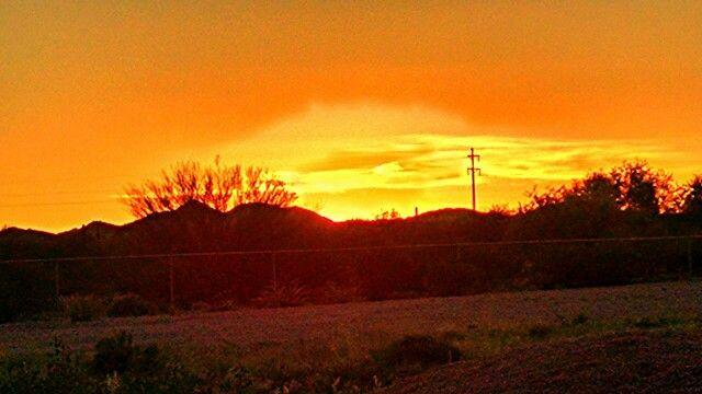 Arizona Sunset. 92 miles west from Tucson! Pretty!!