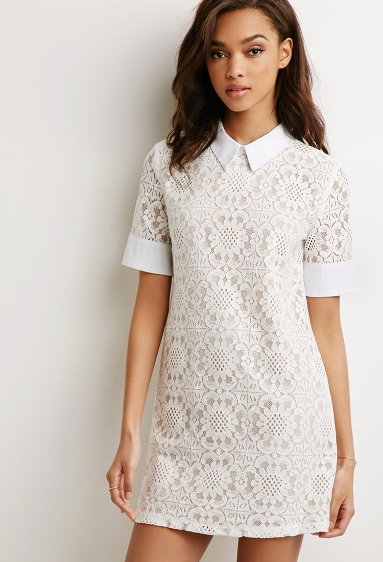 Collared Lace Shift Dress | Forever 21 - 2000112426 ...
