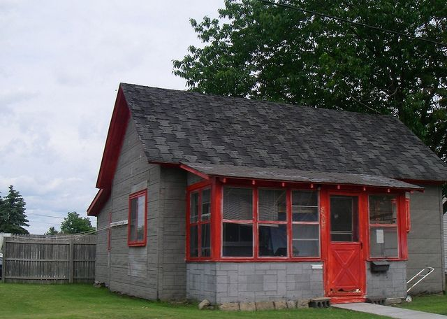 Cute Little Grey House With Red Trim By Tofightfortheright Via Flickr