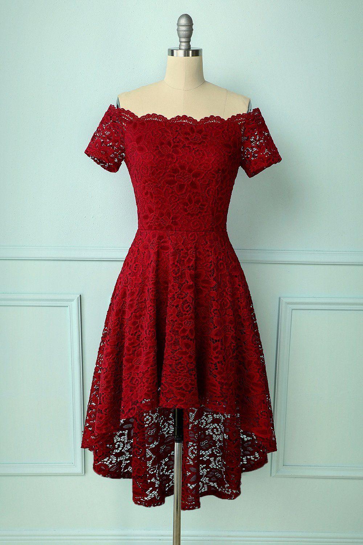 Dunkelrot Asymmetrisches Kleid in 17  Schöne rote kleider