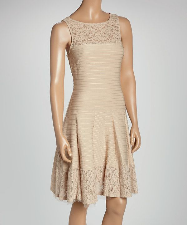 ad933425bb Look at this Danny   Nicole Stone Ribbed Lace-Yoke Fit   Flare Dress on   zulily today!