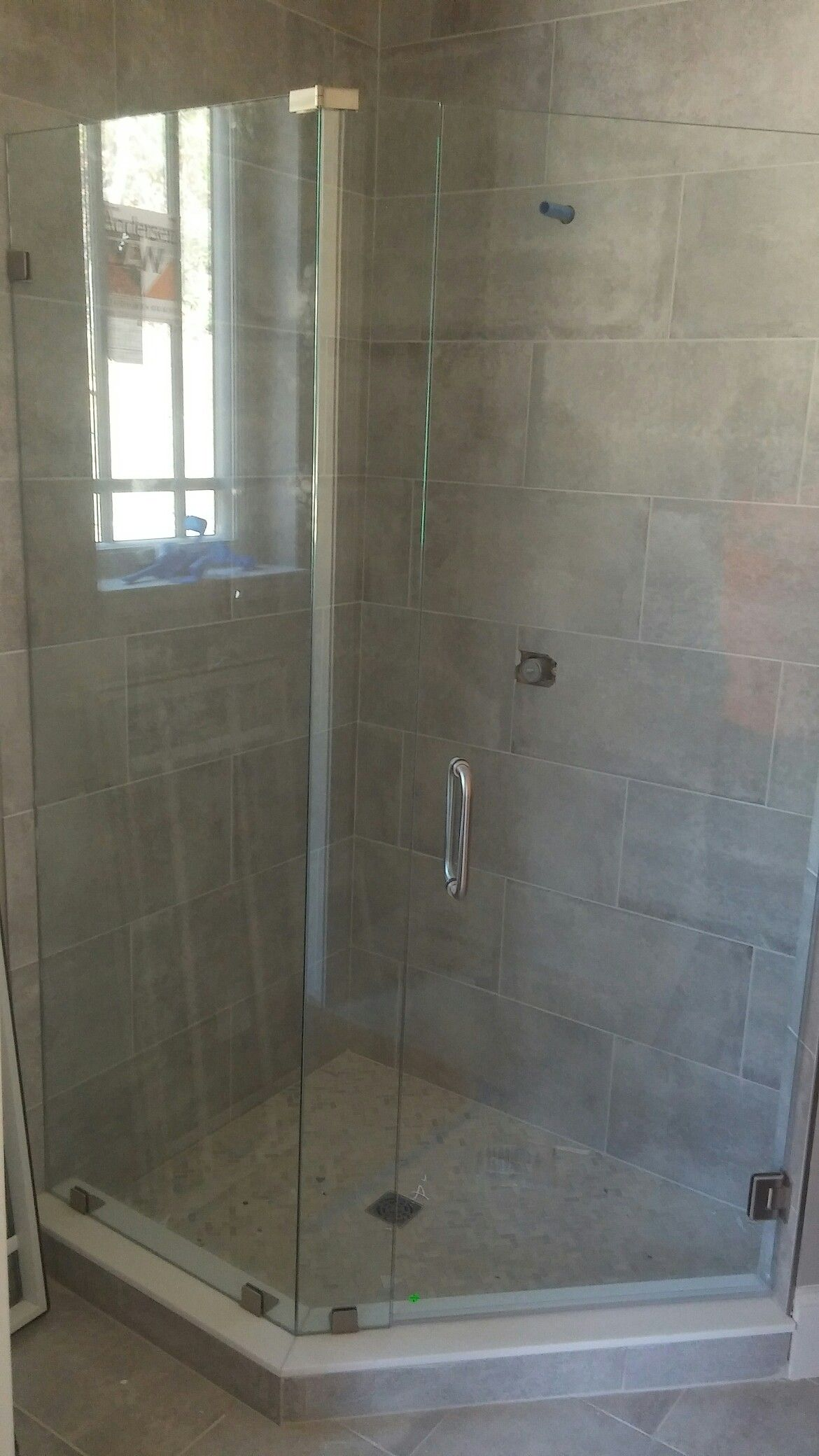 135° half neo angle frameless shower door in Atlanta. Call me for ...