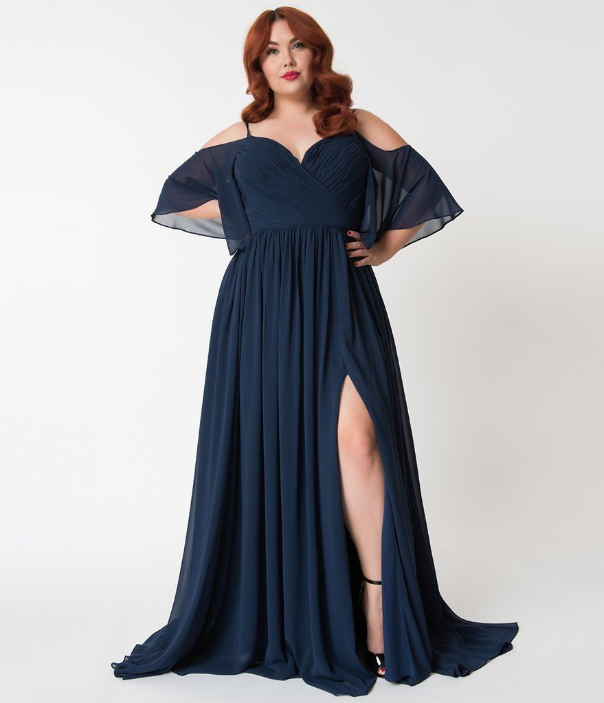 Plus size navy blue off the shoulder flutter sleeves pleated chiffon
