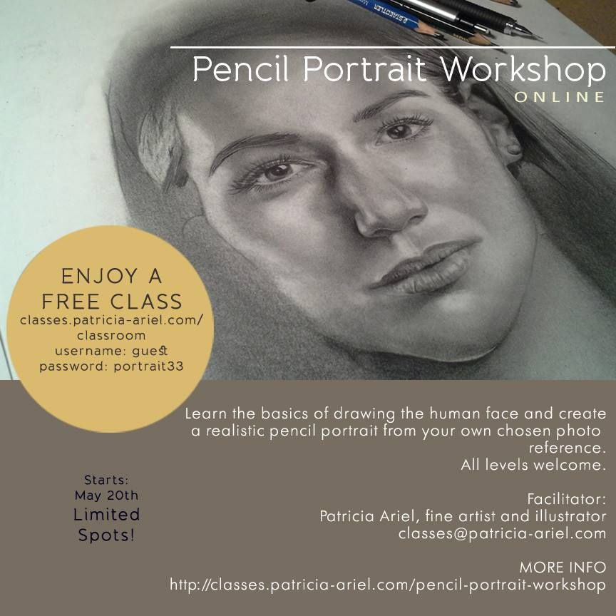 I still have spots available for my second pencil portrait online workshop